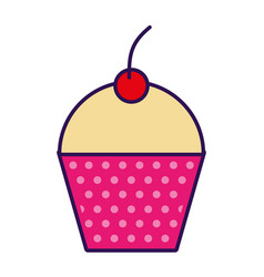 Cute fuchsia cupcake cartoon vector