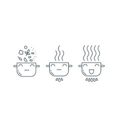 Cute Pot line icons vector image