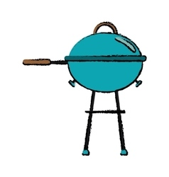 Drawing grill barbecue kettle food camping vector