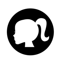 Female profile silhouette icon vector