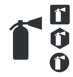 Fire extinguisher icon set monochrome vector