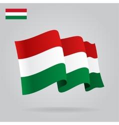 Flat and waving hungarian flag vector