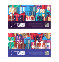gift card template set with gift box vector image