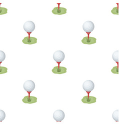 Golf ball on the standgolf club single icon in vector