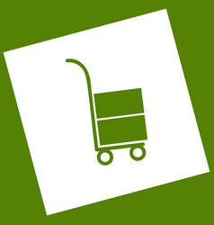 Hand truck sign white icon obtained as a vector