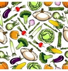 Healthy organic vegetables seamless pattern vector
