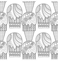 Ice cream dessert black and white vector