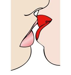 Lesbian kiss vector