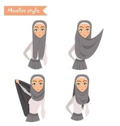 Muslim woman wears hijab vector