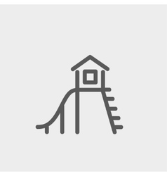Playhouse with slide thin line icon vector