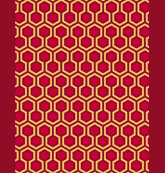 red seamless hexagon pattern style background vector image