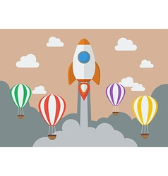 Rocket launching over the hot air balloons vector