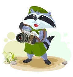 Scout raccoon with camera vector image vector image