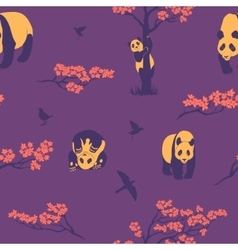 Seamless pattern of sakura tree and panda vector