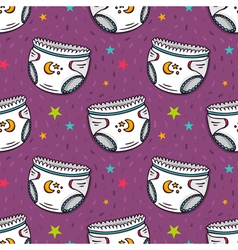 Seamless pattern with diapers vector