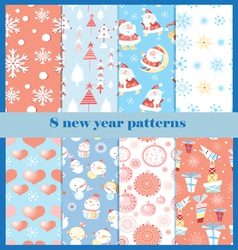Set of patterns for the new year vector image vector image