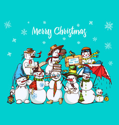 set of winter holidays snowman in different vector image vector image