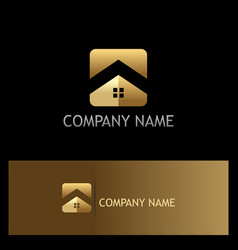 square roof home gold company logo vector image