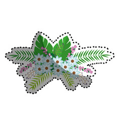 Sticker flowers bunch floral design with leaves vector