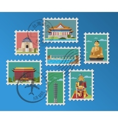 Taiwanese postage stamps and postmarks vector