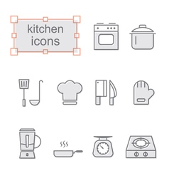 Thin line icons set kitchen vector