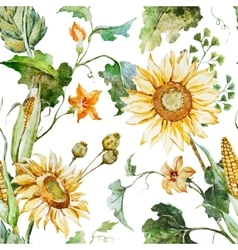 Watercolor sunflower pattern vector