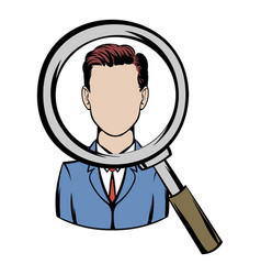 Magnifying glass focused on a person icon cartoon vector
