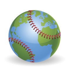 World globe baseball ball concept vector