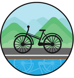 Bicycle sign on nature background black icon vector