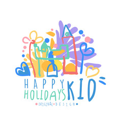 Kid happy holidays logo original design colorful vector