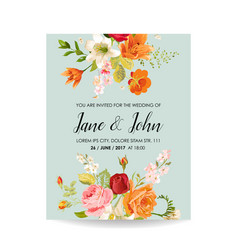 Wedding invitation card with watercolor lily vector