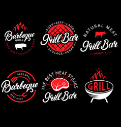 set of grill bar and bbq labels in retro vector image
