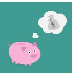 Piggy bank dream about money bag think bubble vector