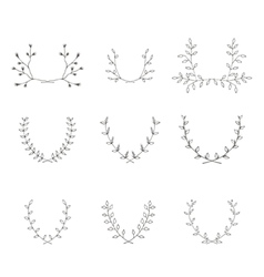Hand-drawn branches graphic design elements set vector