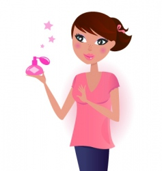 girl in pink with perfume vector image