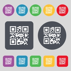 Qr code icon sign a set of 12 colored buttons flat vector