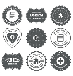 Plus circle and puzzle signs file globe vector