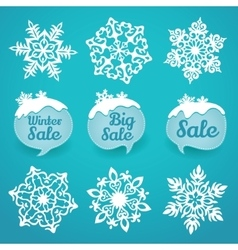 Collection of snowflakes and sale lables winter vector