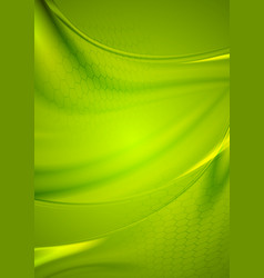 Abstract green wavy shiny background vector