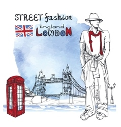London dude menstreet fashionwatercolor splash vector