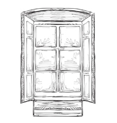 Hand drawn hurtains Windows sketch vector image