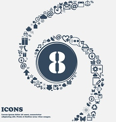 Number eight icon sign in the center around the vector