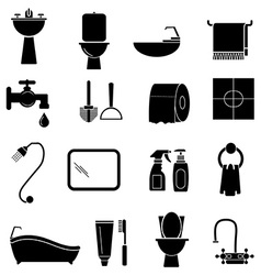 Bathroom icons set vector