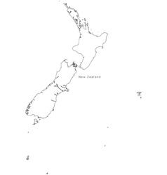 Black White New Zealand Outline Map vector image