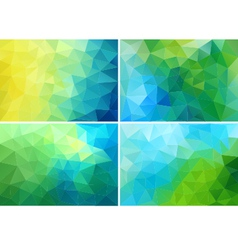 blue and green low poly backgrounds set vector image vector image