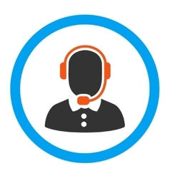 Call center operator rounded icon vector