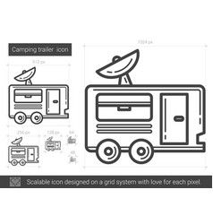 Camping trailer line icon vector