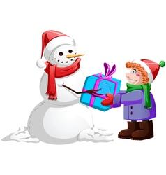 Christmas Snowman Gives Present To Boy vector image vector image