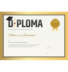 Diploma certificate template in in gold theme vector