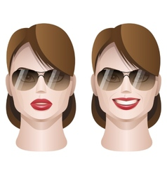 female faces with sunglasses vector image vector image